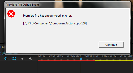 Premiere Pro has encountered an error