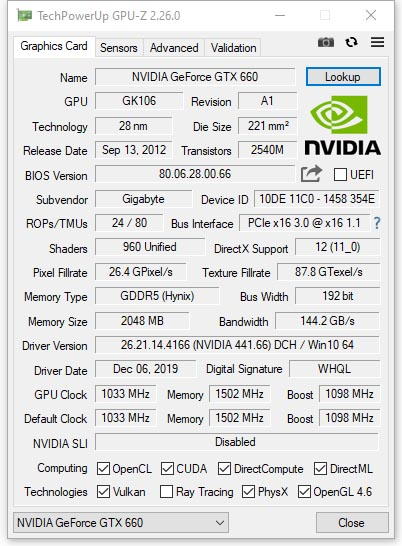 GIGABYTE GTX 660 WindForce 2X OC (GV-N660OC-2GD)