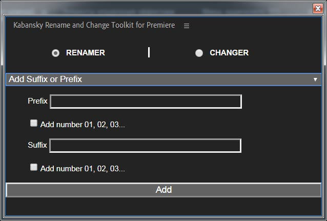 Rename and Change Toolkit for Premiere Pro
