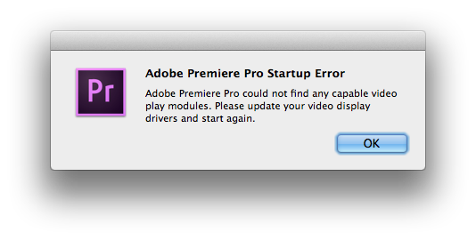 Adobe Premiere Pro could not find any capable video play modules