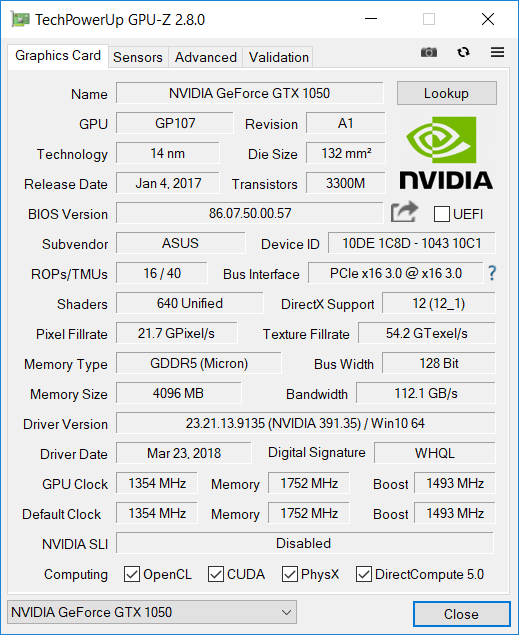 NVIDIA GeForce GTX 1050 Mobile
